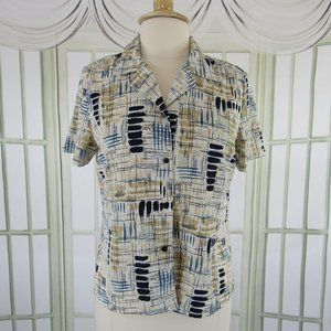 Notations Button Front Blouse Career Geometric L